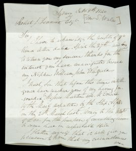 George Whitfield, early Sydney gunsmith and taxidermist : autograph letter, signed, dated 1840WHITFIELD George (1808-1864)# 14023
