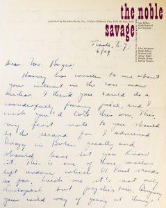 Saul Bellow : manuscript letter, signed, circa 1960.BELLOW, Saul (1915-2005)# 3085