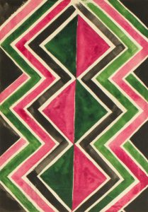 Original fabric design by Sonia Delaunay for haute-couture textile supplier Robert Perrier