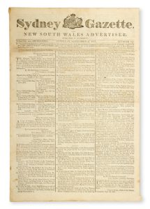 Sydney Gazette and New South Wales Advertiser. Volume Fifteen, number 723, September 27, 1817.