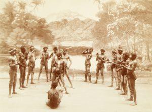 Aborigines from Meston's Wild Australia troupe performing a staged corroboree, Sydney, 1893KERRY, Charles, 1857-1928; [MESTON, Archibald, 1851-1924]# 13728