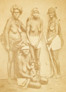 Group of Aboriginal women and breastfeeding infant, Brisbane, circa 1868