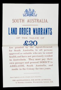 South Australia. Land Order Warrants of the value of £20 are granted by the Agent-General
