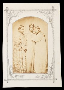 Photographic portrait of a three young Tahitian women, circa 1870