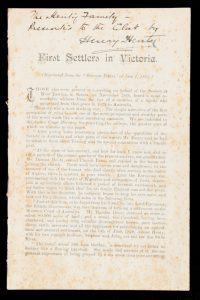 First settlers in Victoria