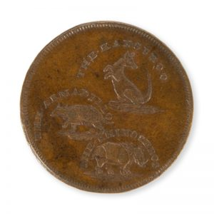 Copper token for Thomas Hall, taxidermist, London, 1795