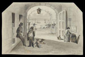 Steam Boat Wharf from Portico of Mac[k's] Hotel Gelong [sic]TURNER, Edward (1836 - 1913)# 13075
