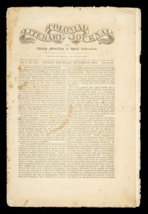 Colonial literary journal and weekly miscellany of useful information. Vol. 1 no. 19 October 31 1844READING, James; SANDOE, Francis# 12925