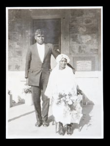 Wedding portrait of an Aboriginal couple, Kooniba Mission, west coast of South Australia, circa 1925