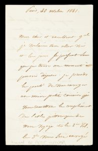 Dupetit-Thouars : autograph letter signed, dated October 1841