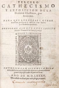 Tercero Cathecismo y Exposicion de la Doctrina Christiana, por Sermones. Para que los Curas y otrosJosé de Acosta; Juan de Atienza (attributed)# 12406