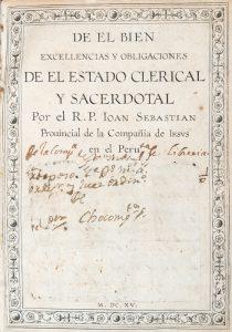De el Bien Excellencias y Obligaciones de el Estado Clerical e Sacerdotal.Juan Sebastián de la Parra 1546-1622# 12564