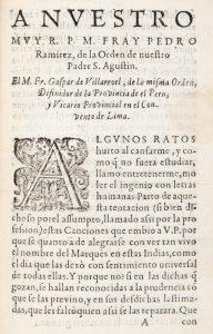 A nvestro mvy R. P. M. Fray Pedro Ramirez, de la Orden de nuestro Padre S. Agustin.VILLARROEL, Gaspar de, ca. 1587-1665# 12452