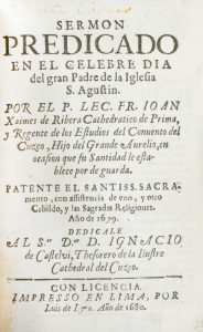 Sermon predicado en el celebre dia del gran Padre de la Iglesia S. Agustin.Juan Xaimes de Ribera# 12607