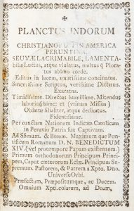 Planctus Indorum Christianorum in America Peruntina.
