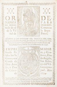 Ordenanza para la ereccion de diputado de el comercio de la Villa Imperial de Potosí.Peru (Viceroyalty).# 12447