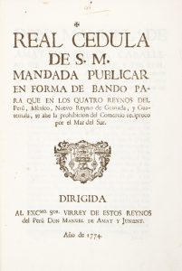 Real cedula de S.M. mandada publicar en forma de bando para que en los quatroCarles, rei d'Espanya; Manuel Amat y Junyent; Espanya. Rei (1759-1788 : Carles III); Perú. Virei (1761-1776 : Manuel de Amat y Junyent# 12527