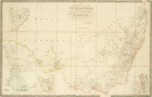 Map of South Australia, New South Wales, Van Diemens Land, and Settled parts of Australia.
