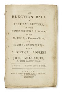 [COOK] An election ball in poetical letters, in the Zomerzetshire dialect, from Mr. Inkle, a freeman
