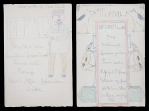 Two menus handmade and illustrated by a French child, 1918-19.