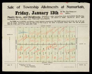 Sale of township allotments at Numurkah. Friday, January 13th [1911]