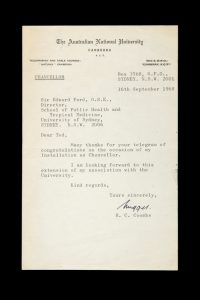 Nugget Coombs, Australian economist and public servant : typed letter, signed, September 1968