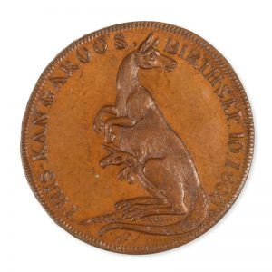 Copper token issued by Pidcock's Menagerie, London, circa 1801, featuring a kangaroo and joey
