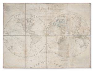 La mappe-monde ou le globe terrestre, représenté en deux hemisphères,HERISSON, Eustache# 13738