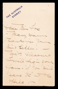 [OPERA] Ada Crossley : autograph letter, signed. To a fan about a fan.