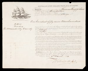 [NEW ZEALAND] Bill of lading for ship Hindostan, London to Port Chalmers, Otago
