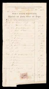 [PARRAMATTA] Bought of Joseph Whitworth, Wholesale and Family Grocer and Draper.[JOSEPH WHITWORTH]# 13876