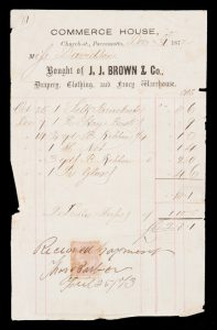 [PARRAMATTA] Bought of J.J. Brown & Co., Drapery, Clothing, and Fancy Warehouse.