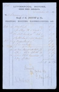 [PARRAMATTA] Bought of Geo. Doust & Co., Drapers, Hosiers, Haberdashers, &c. ...