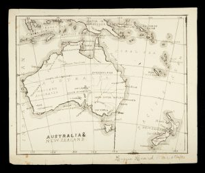 Manuscript map of Australia and New Zealand, dated 1890