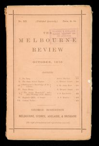The Melbourne Review. No. XII. October, 1878# 13203