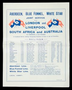Aberdeen, Blue Funnel, White Star service from England to Australia. Schedule for 1927-28