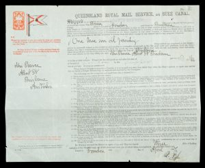 Bill of lading for an oil painting shipped from London to Brisbane, 1887