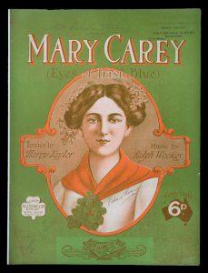 [SHEET MUSIC] Mary Carey : (eyes of Irish blue)WEEKES, Ralph (music); TAYLOR, Harry (words)# 12729