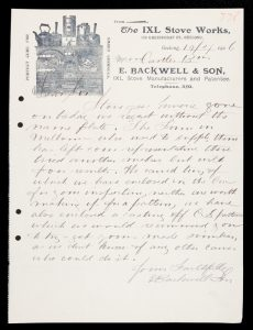 Illustrated letterhead of The IXL Stove Works, Geelong