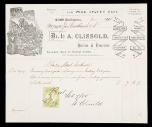 Illustrated letterhead of A. Clissold, Builder & Decorator, South Melbourne