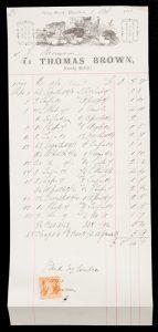 Illustrated letterhead of Thomas Brown, Family Butcher, Gray Street, HamiltonTHOMAS BROWN.# 12540