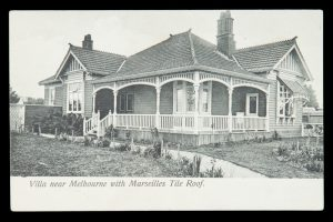 Villa near Melbourne with Marseilles tile roof.