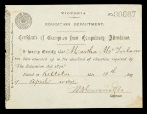 [WIMMERA; EDUCATION] Certificate of Exemption from Compulsory Attendance.