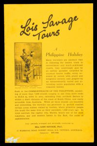 A Philippine holiday ... Tour specially arranged and personally conducted by Miss Lois Savage, Ph.C.SAVAGE, Lois# 1196