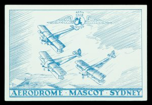 This card commemorating the Aerial Pageant, held at Mascot, by the Aero Club of N.S.W. on 30/9/33,
