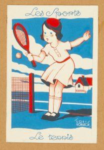Les Sports : five original gouache designs by Louis Gougeon GOUGEON, Louis # 11529