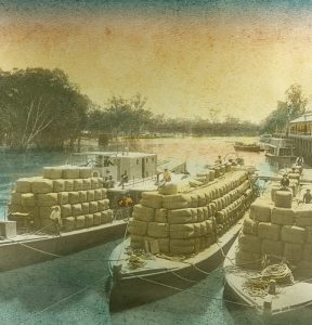 Wool barges at Echuca Wharf, Murray River, northern Victoria, circa 1910