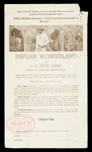 Papuan wonderland / The phantom paradise (order form)HIDES, J.G. / NIAU, J.H.# 11459