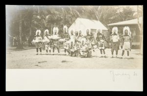 [TORRES STRAIT] Men dressed for ceremony, Thursday Island, circa 1920