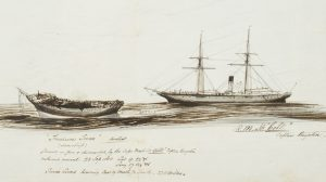"""Treasure Trove"", found on fire and dismasted, by the Cape Mail ship ""Celt"", off Sierra Leone, 1868